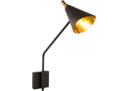 Iron and Brass Cone Shaped Wall Sconce