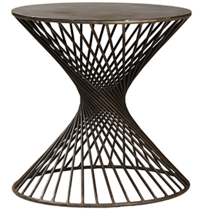Steel Side Table with Twisted Iron Base