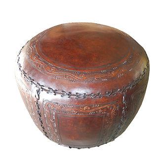 classic, stitch, round, new, world, antique brown, leather, ottoman, hassock, foot rest, foot, rest, hand, tooled, seat, Peru, Peruvian, hand stitched, cotton, organic, stuffed, brown, antiqued, distressed