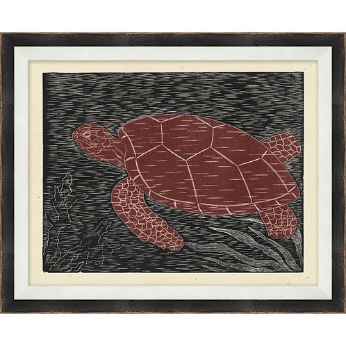 Wood Block Sea Turtle