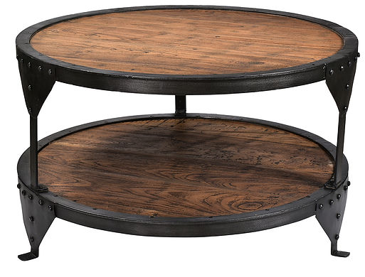 RA5816, round, coffee, table, teak, wood, reclaimed, repurposed, recycled, reused, environmentally friendly, iron, metal, frame, rivets, distressed, gorgeous, beautiful, industrial, cool