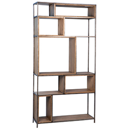 White Cedar Bookcase with Old Wood Beech and Metal Finish