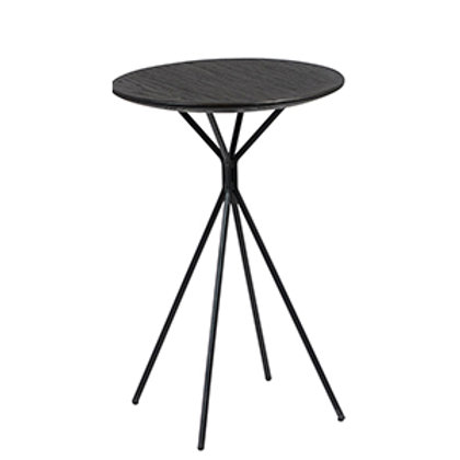 Black Wood Side Table with Metal Base