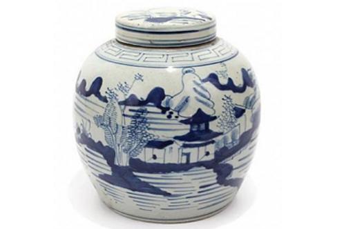 Blue and White Ceramic Ginger Jar with Village Motif