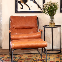 Industrial Iron, Top Grain Leather and Down Feather Fill Make this Chair a Must in Any Contemporary Living Space (Ottoman Sold Separately)