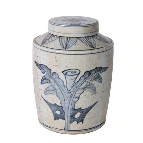 Blue and White Tea Jar with Palm Leaf Motif