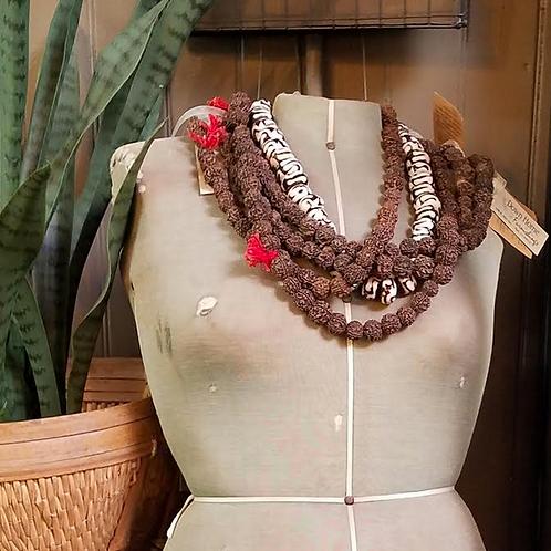 Vintage Rudraksha Hindu Protection Prayer Necklace