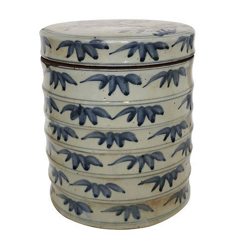 Hand-Painted Blue and White Bamboo Dim Sum Box
