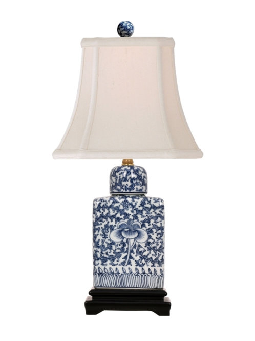 Hand Painted Blue and White Porcelain Tea Jar Lamp