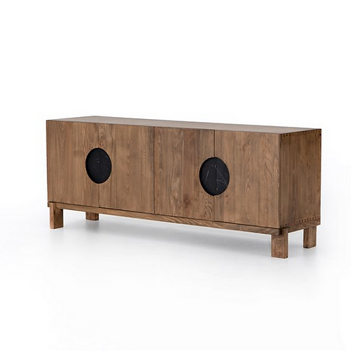 Peroba Wood Media Console on Nickel Base
