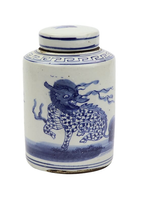 Blue and White Mini Tea Jar with Kyrin