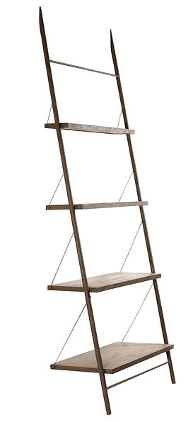 dOV398, baldwin, bookcase, leaning, gray, wood, metal, steel, iron, shelf, book, case, display, modern, clean lines, hardware, anchor, Ojai, California, furniture