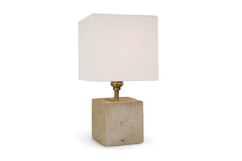 """Concrete Cube Table Lamp, 14"""" tall with Shade"""