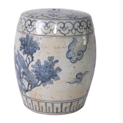 "Blue and White Ceramic Mini Stool, 11"""
