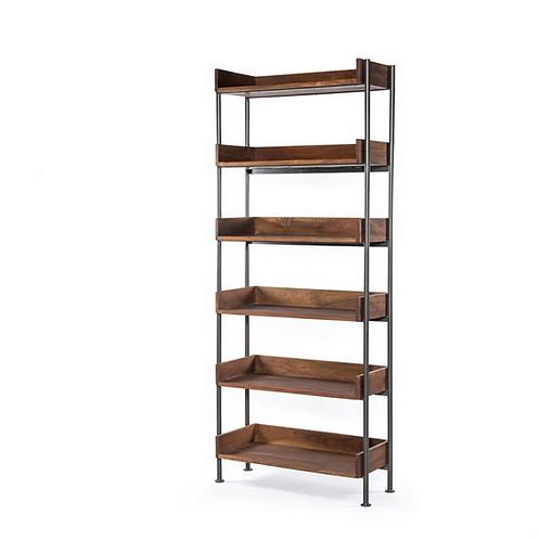 Toasted Acacia Bookshelf with Gallery Style Shelves