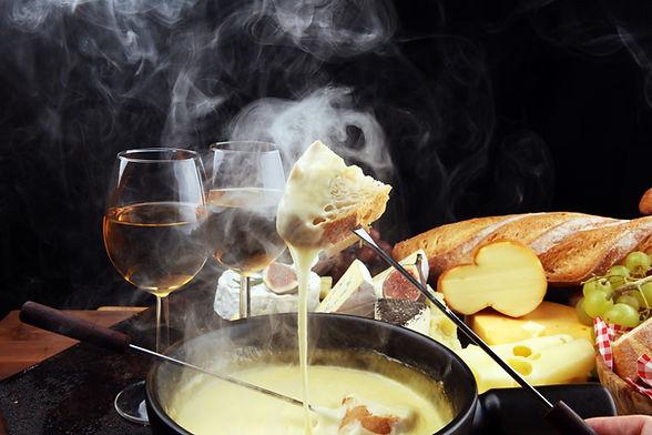 Gourmet Swiss fondue dinner on a winter