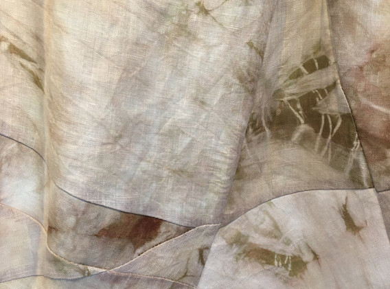 Fading, 8'x2'x2' Hand dyed cotton and linen sculpture, 2020