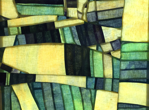 Broken, 2'x2' Hand dyed cotton and linen light panel, 2020