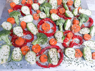 Roasted Brussel Sprouts, Carrots, Broccoli & Red Peppers