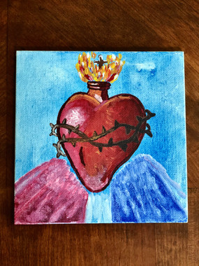 """3""""x3"""" Sacred Heart of Mercy canvas - $35.00"""