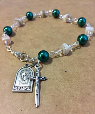 Green & Shell Decade Rosary w/ Clip - $25.00