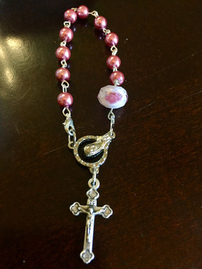 Rose Decade Rosary w/ Clip - $25.00