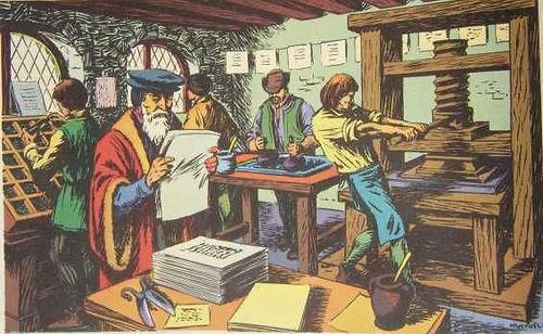 Un atelier d'époque de la presse de gutenberg