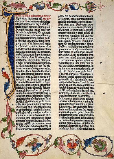 1ère page de la Bible de Gutenberg