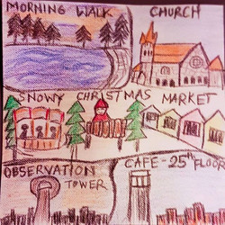 Day 7 - Sketched by one of our Co travelers - Sonali Josh.jpg She is making a sketch of our everyday