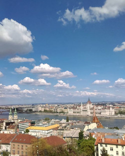 Sunny day views of Budapest from Buds Ca