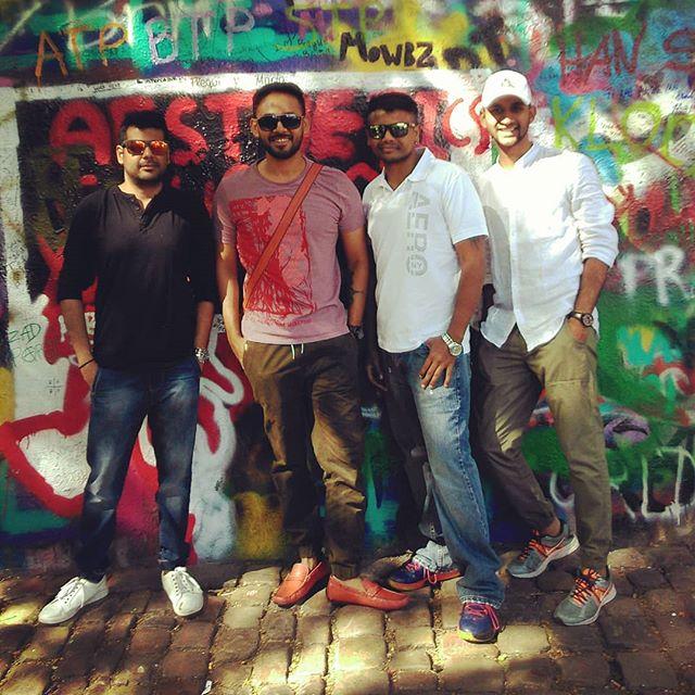 Our Boyzzz at John Lennon wall. Happy faces