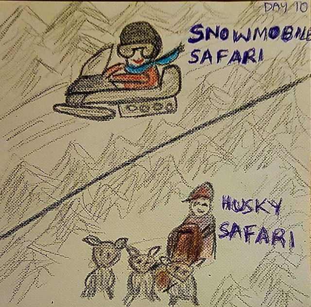 Day 10 - What our travelers been doing - Snowmobile and Husky and Sauna
