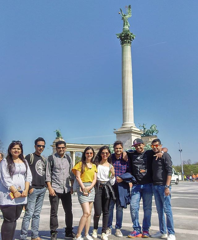 During our group tour of this incredible city.jpg A moment captured at the Heroes Square Budapest