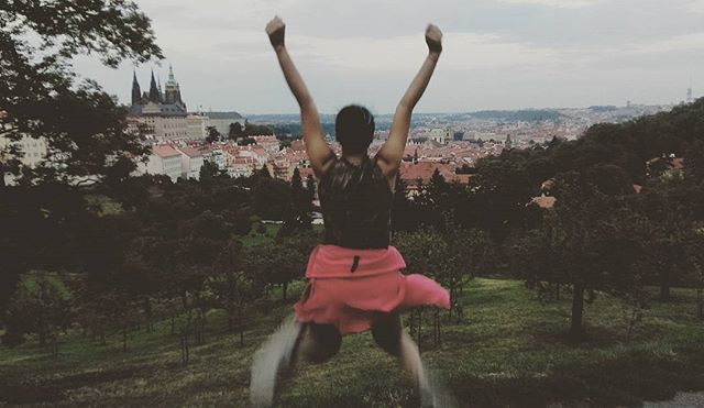 One of our Travelers _Apeksha Pathak_ tripping in Prague _Jump high , touch the sky_#backpack_prague