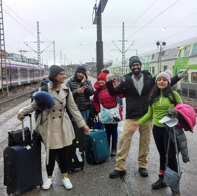 Helsinki treated us well and now we are off to Turku from L-R - Neha Sukhwani , Anurag Pareekh , Son