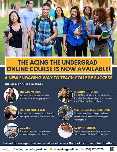 Acing the Undergrad Online Course Flyer.