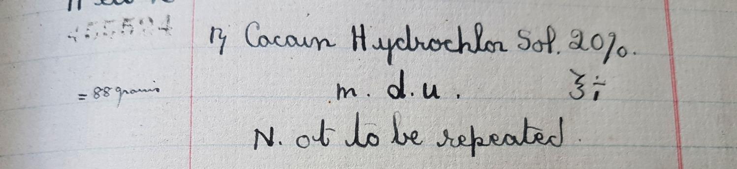 Cocain Hydrochlor m.d.u.