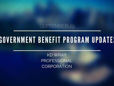 Government Benefit Program Updates
