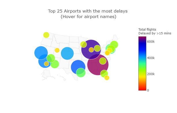 Plot 12 - Map of Top 25 Airports with mo
