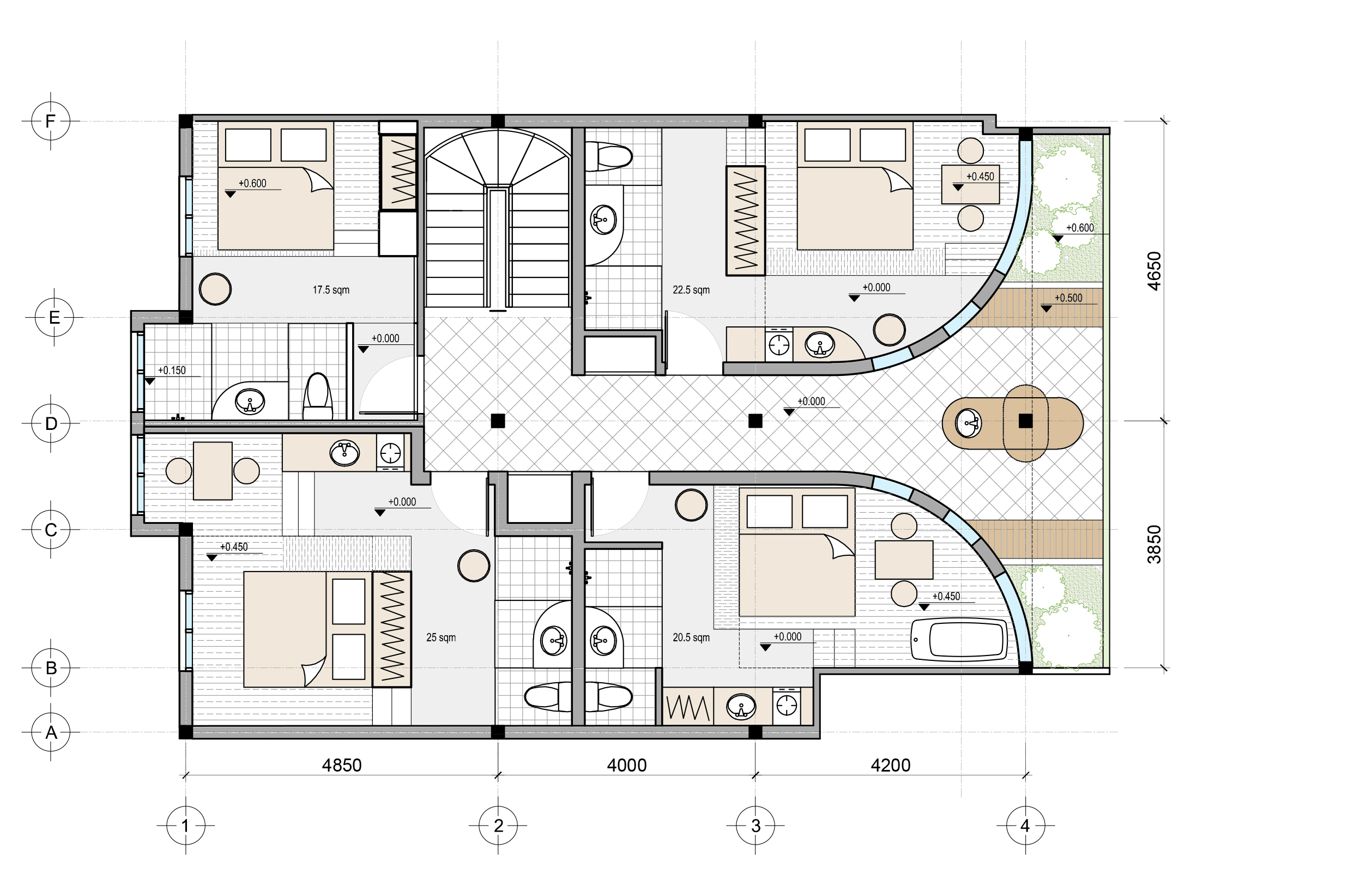 AirBnB Floor Plan . 4 Suites