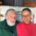 Frank Willett and Luisa Baldinger made pottery in Santa Fe, New Mexico. In front of their gas kiln.