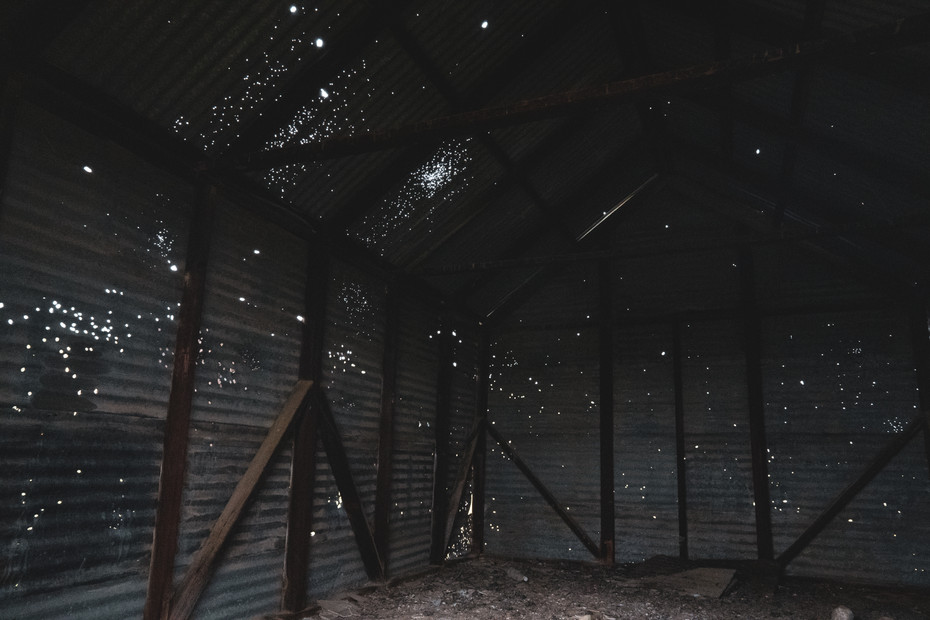 Abandoned building on the valley floor.