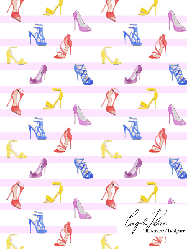 Colourful shoes and pink stripes