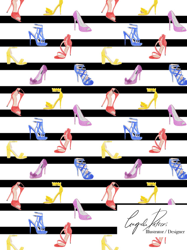 Colourful shoes and stripes
