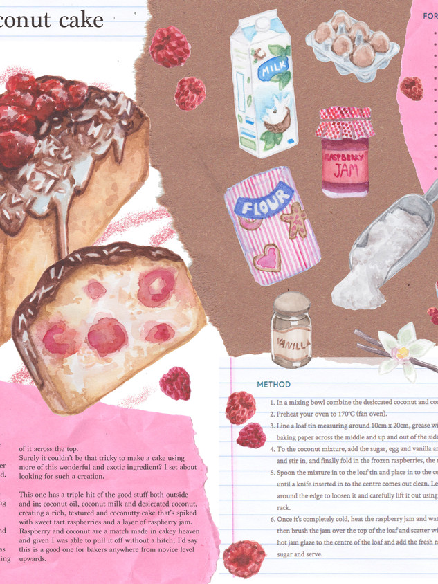 Editorial illustrations based on a Raspberry and Coconut Cake recipe/article by the Kitchen Alchemist