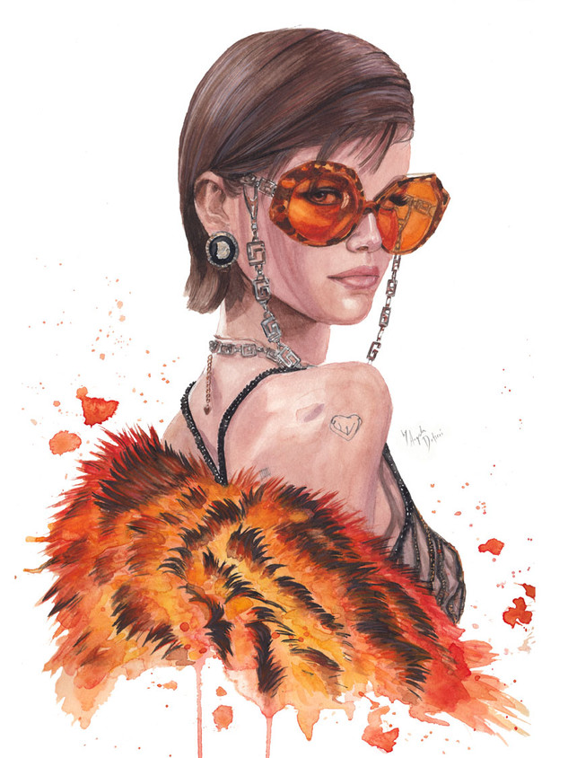 Kaia Gerber based on a picture by Greg Swales of her backsatge runway look for Versace FW20