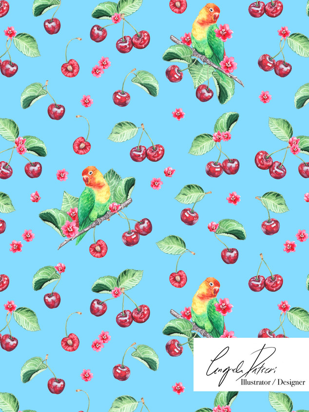 Cherry pattern and love birds