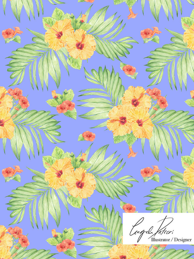 Hibiscus blue pattern