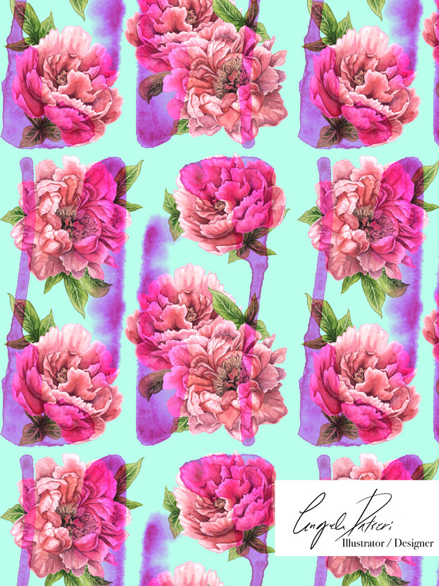 Peony pattern with pink splashes