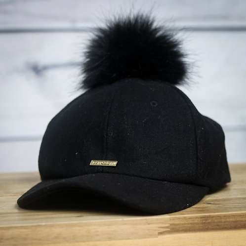 Black Pom Pom Cap